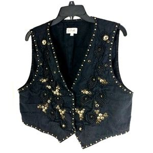 G. A. R. Womens Decorated Shiny Vest Size Large